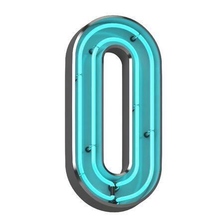 3d neon number zero