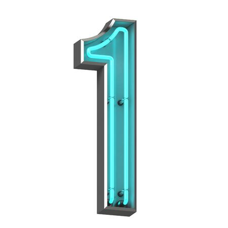 3d neon number one