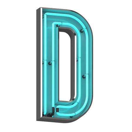 3d neon letter d