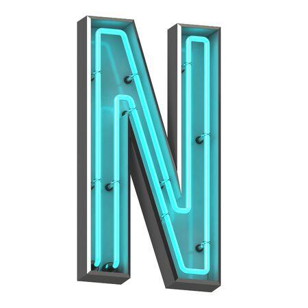 3d neon letter n