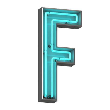 3d neon letter f Archivio Fotografico - 128335489