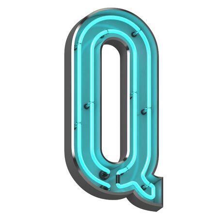 3d neon letter q Archivio Fotografico - 128335493