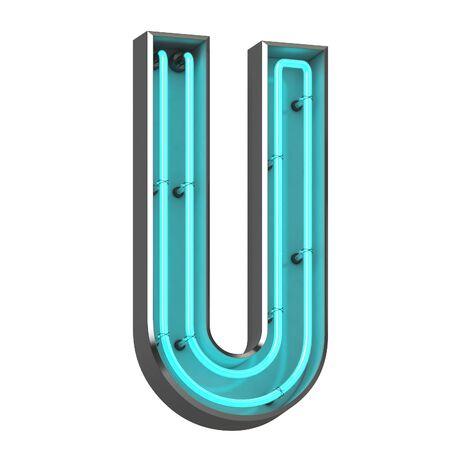 3d neon letter u