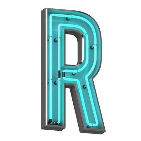 3d neon letter r