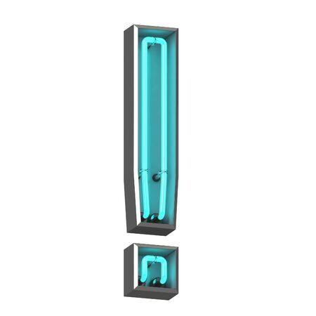 3d neon exclamation mark Zdjęcie Seryjne