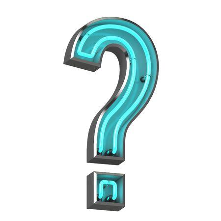 3d neon question mark