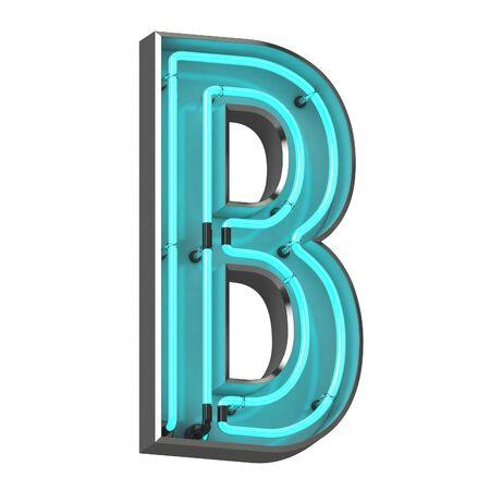3d neon letter b