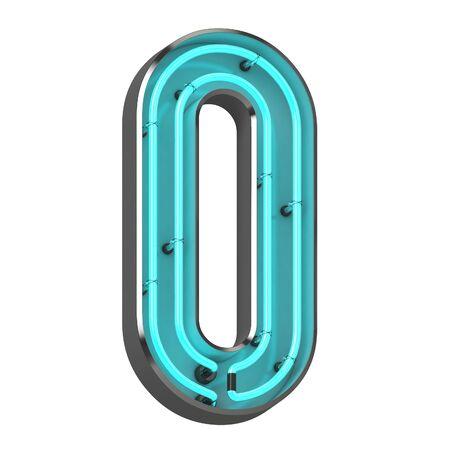 3d neon letter o
