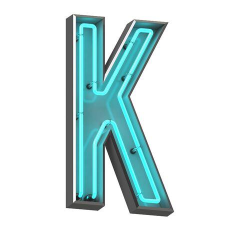 3d neon letter k Archivio Fotografico - 128335509