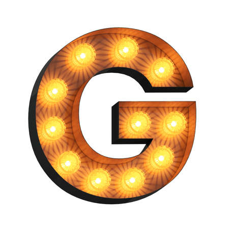 Isolated 3d illustration of marquee light bulb letter G Archivio Fotografico - 151373470
