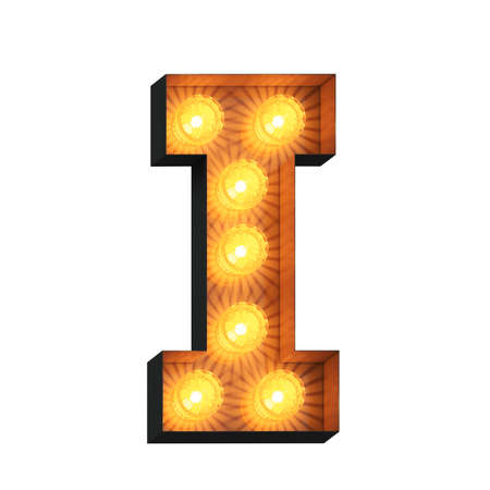 Isolated 3d illustration of marquee light bulb letter I Archivio Fotografico - 151259926