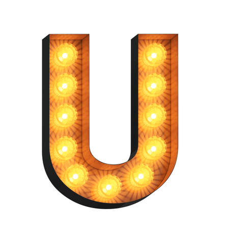 Isolated 3d illustration of marquee light bulb letter U