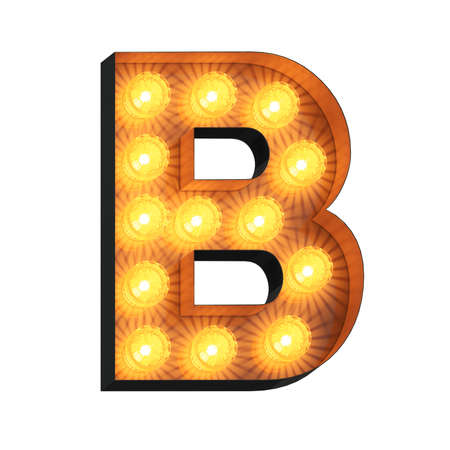 Isolated 3d illustration of marquee light bulb letter B Archivio Fotografico