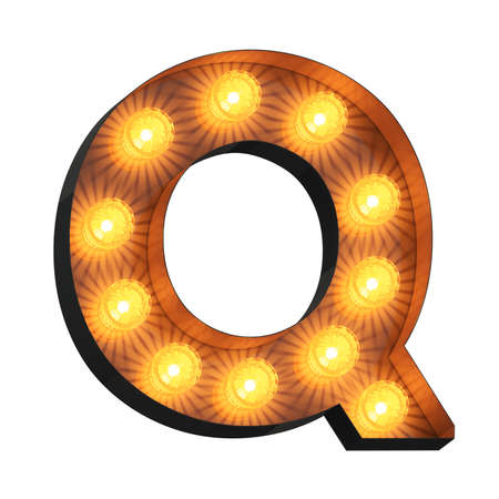 Isolated 3d illustration of marquee light bulb letter Q