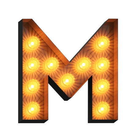 Isolated 3d illustration of marquee light bulb letter M