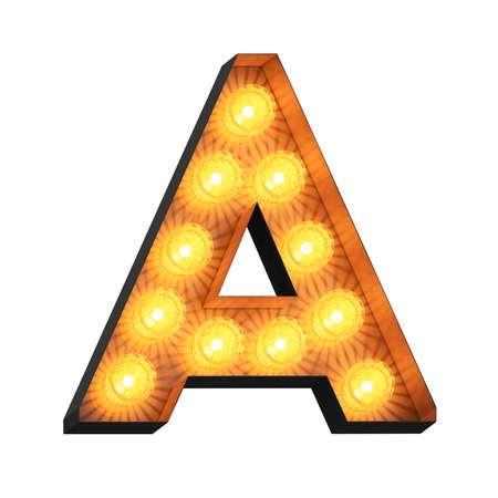 Isolated 3d illustration of marquee light bulb letter A