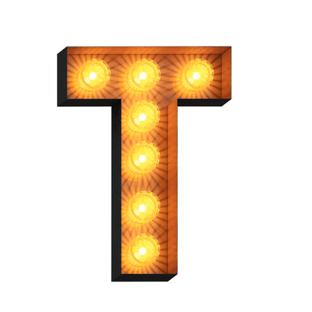 Isolated 3d illustration of marquee light bulb letter T