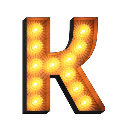 Isolated 3d illustration of marquee light bulb letter K