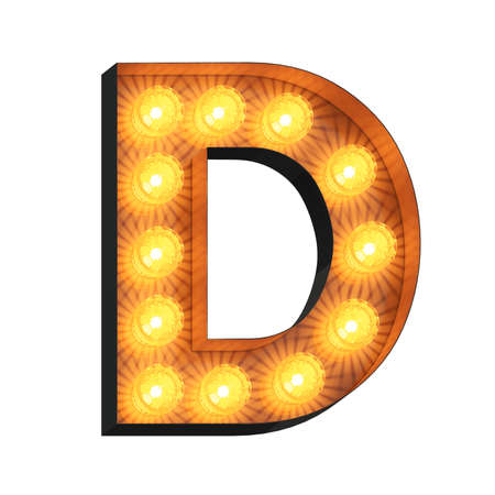 Isolated 3d illustration of marquee light bulb letter D