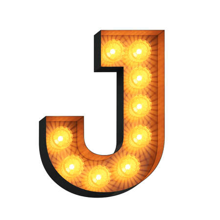 Isolated 3d illustration of marquee light bulb letter J
