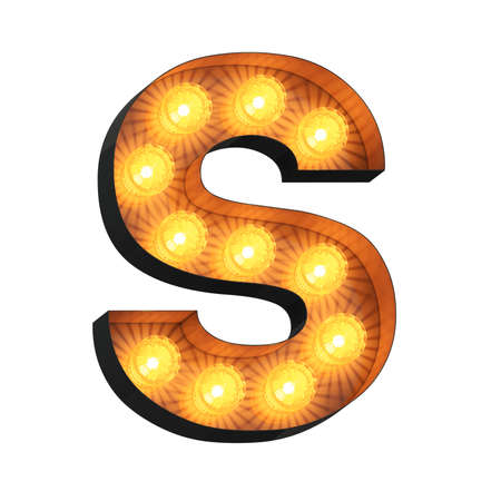 Isolated 3d illustration of marquee light bulb letter S