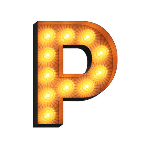 Isolated 3d illustration of marquee light bulb letter P