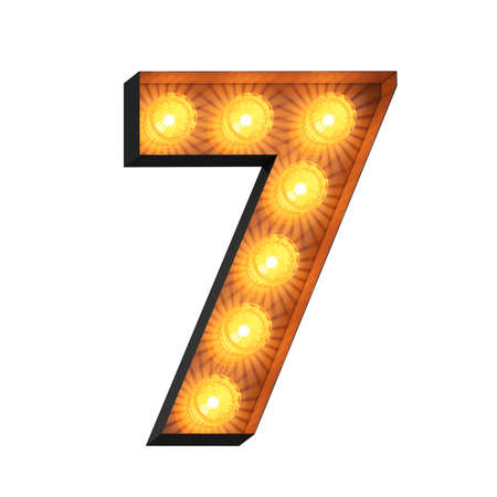 Isolated 3d illustration of marquee light bulb number seven