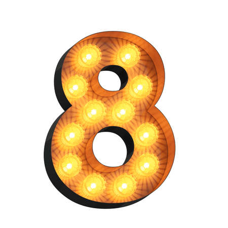 Isolated 3d illustration of marquee light bulb number eight
