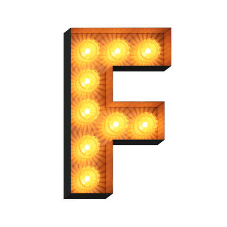 Isolated 3d illustration of marquee light bulb letter F