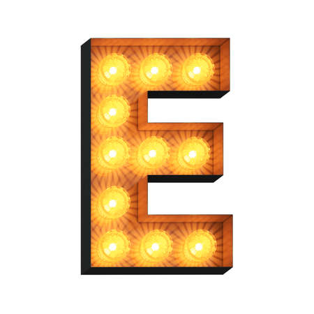 Isolated 3d illustration of marquee light bulb letter E Archivio Fotografico - 151373506