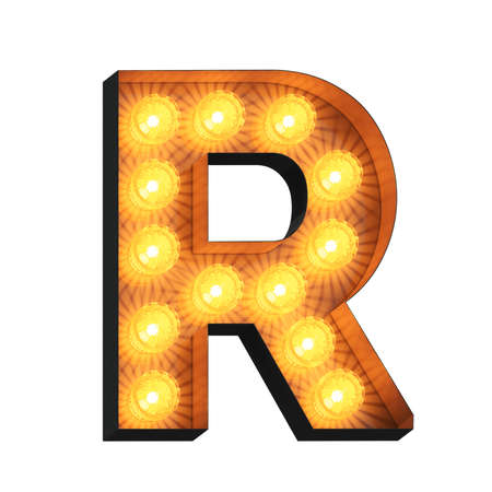 Isolated 3d illustration of marquee light bulb letter R