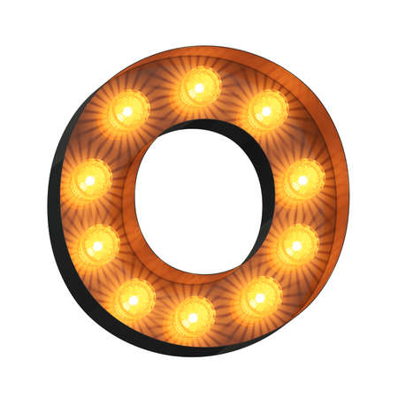Isolated 3d illustration of marquee light bulb letter O