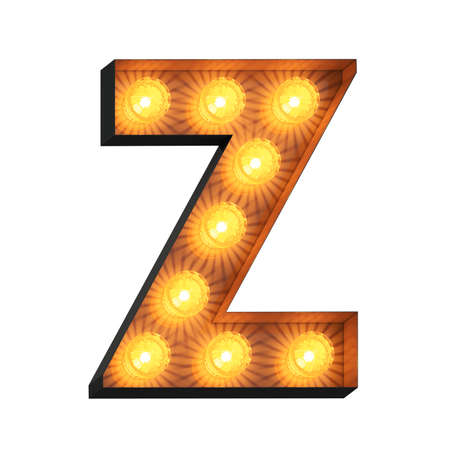 Isolated 3d illustration of marquee light bulb letter Z Archivio Fotografico