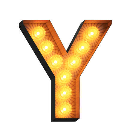 Isolated 3d illustration of marquee light bulb letter Y