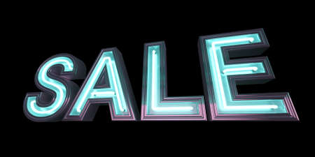 Isolated 3d image of neon sale sign