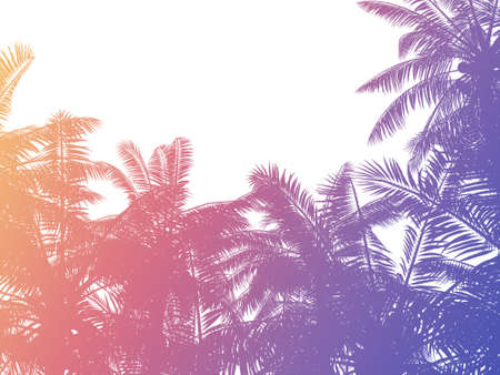 80s retro style colorful gradient tropical palms background. 3d rendered silhouette.