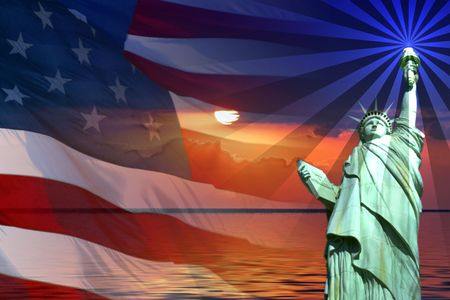 liberty: Symbol of America, Flag, Sunrise, Statue of Liberty.