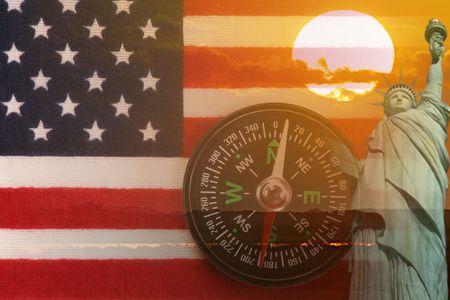 American Montage, Flag, Sunrise, Statue of Liberty, Compass. Digital Art. photo