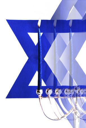 judaic: Abstract Art, Flag of Israel and Menorah, Religious Holiday