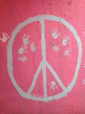 peace sign: Graffiti peace sign with handprints