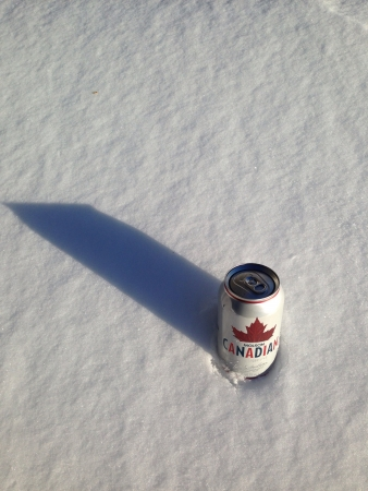 molson: A can of Molson Canadian beer with a snowy background