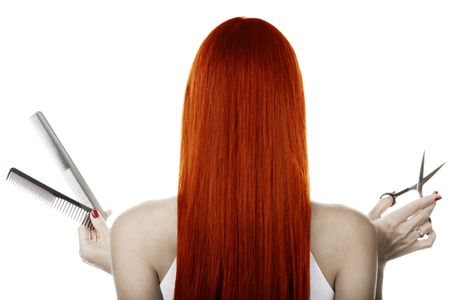 Red hair and hairdresser's tools Stock Photo - 1799742