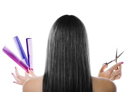 Black hair and hairdresser's tools Stock Photo - 1799741