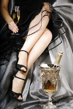 brindisi champagne: Celebrazione con champagne Archivio Fotografico