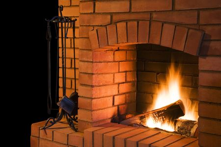 log wall: Fireplace