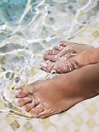 swimmingpool: Woman feet in water at swimmingpool