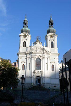 karlovy: Magdalene church in Karlovy Vary Stock Photo