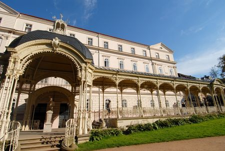 karlovy: Colonnade in Karlovy Vary Stock Photo