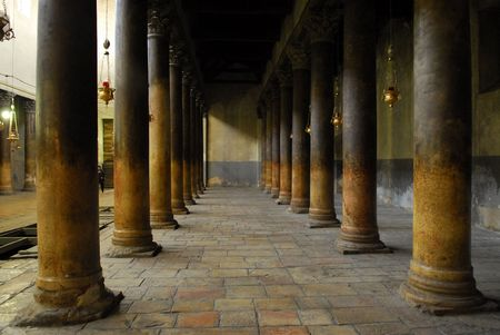 colonnade: A colonnade in the Church of the Nativity in Bethlehem Stock Photo
