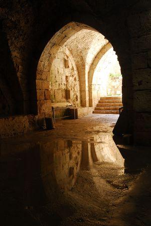 bulwark: An entrance to the bulwark in Acre, Israel